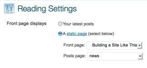 Menu for changing reading-settings of a WordPress blog