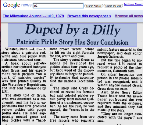 The follow-up UPI story about the great pickle hoax, from Milwaukee via Google News